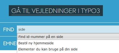 skærmbillede af Find-indekset på forsiden af typo3